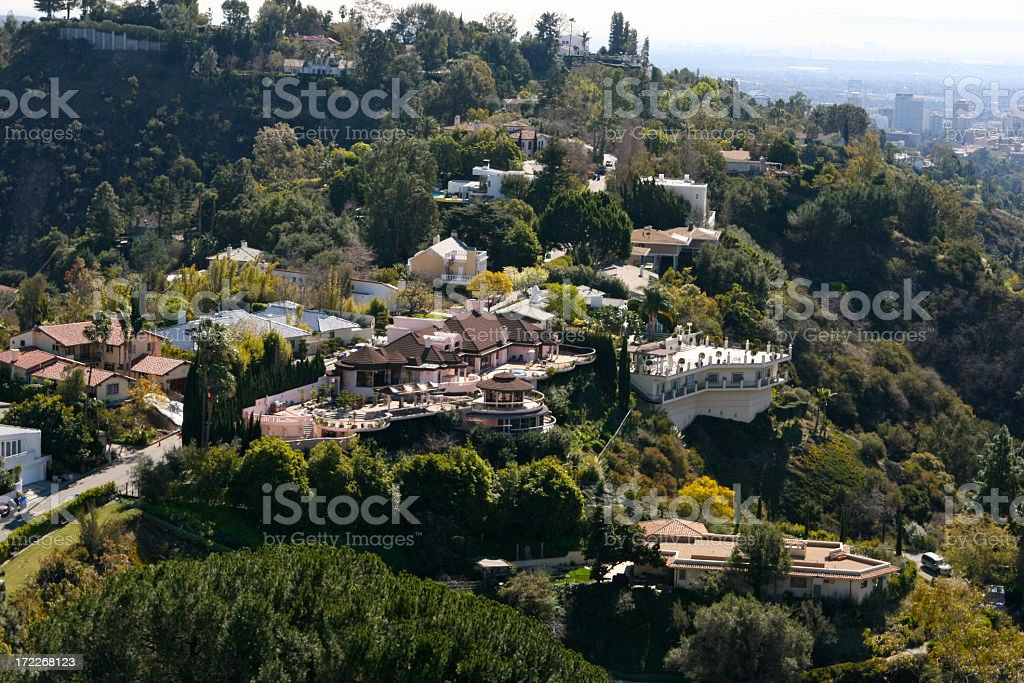 Overhead Mansions in Beverly Hills Aerial View stock photo