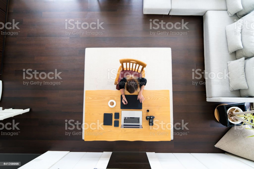 Overhead of a freelance illustrator stock photo