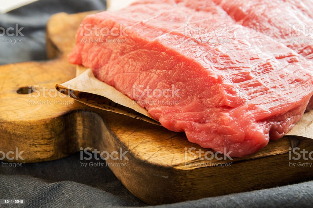 Overhead of beef tenderloin. Cooking dinner. Top view. royalty-free stock photo