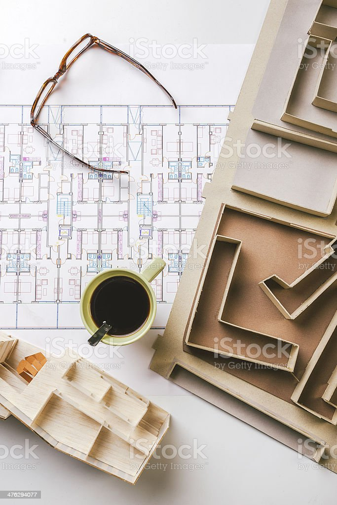 Overhead of building model and drafting tools on construction plan. royalty-free stock photo