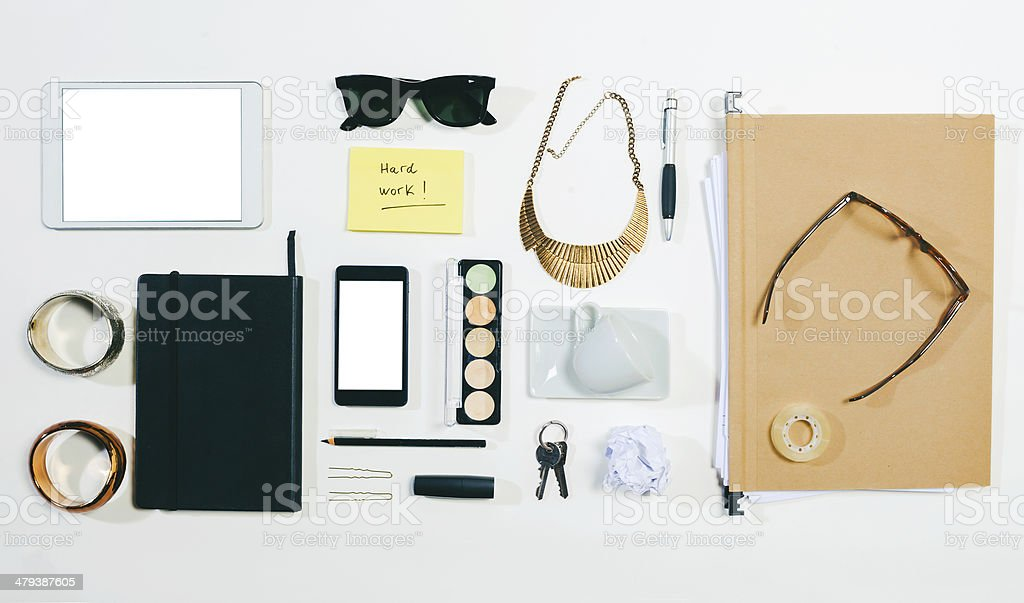 Overhead of business woman accessories. stock photo