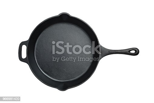 Overhead image of a cast iron fry pan on a white background with a working path.