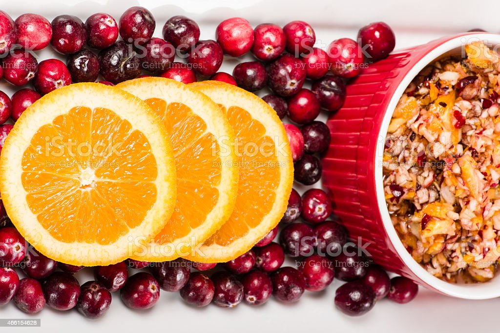 Overhead of cranberry relish with cranberries stock photo