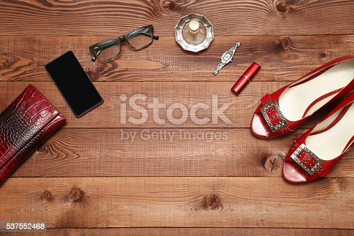 539853444 istock photo Overhead of essentials fashion woman objects. 537552468