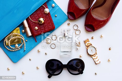 539853444 istock photo Overhead of essentials for modern young stylish woman. 524906934