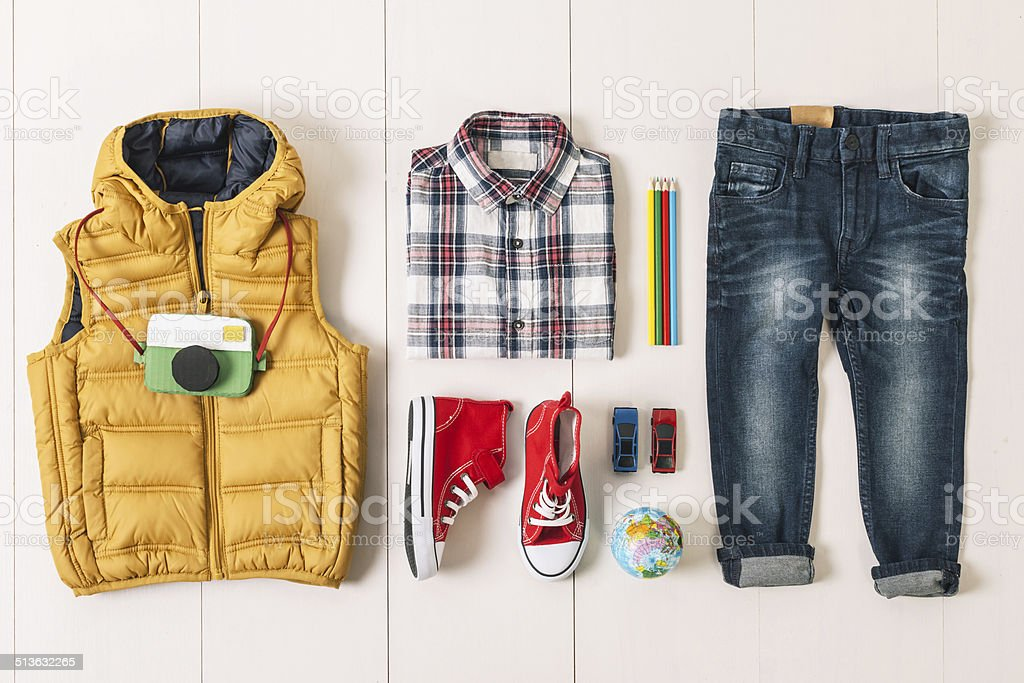 Overhead of essentials modern boy. stock photo