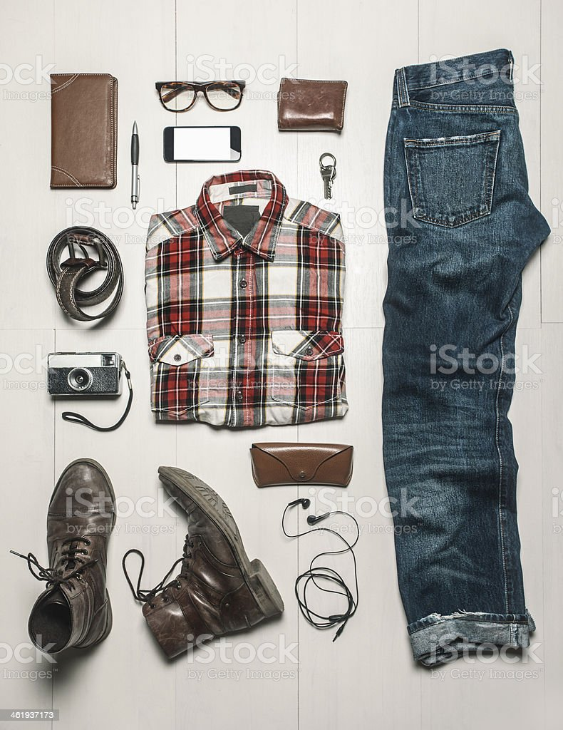 Overhead of essentials modern man. stock photo