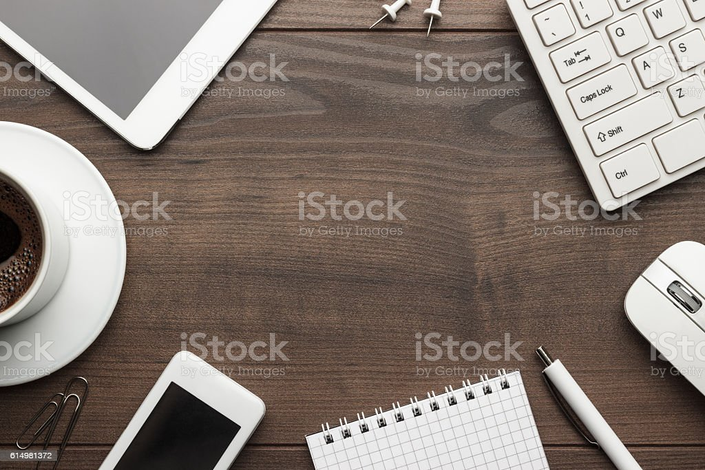 Overhead Of Office Table With Copy Space Stock Photo
