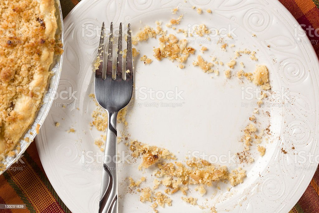 Overhead of Pie, Fork and Copy Spaced Crumbs on Plate stock photo