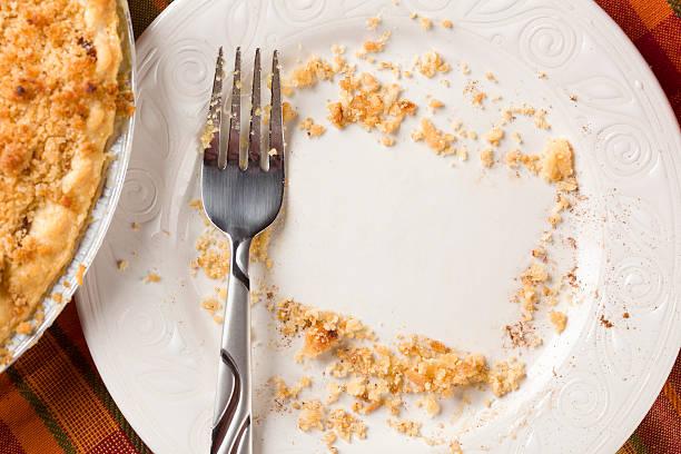 overhead of pie, fork and copy spaced crumbs on plate - tallrik uppätet bildbanksfoton och bilder