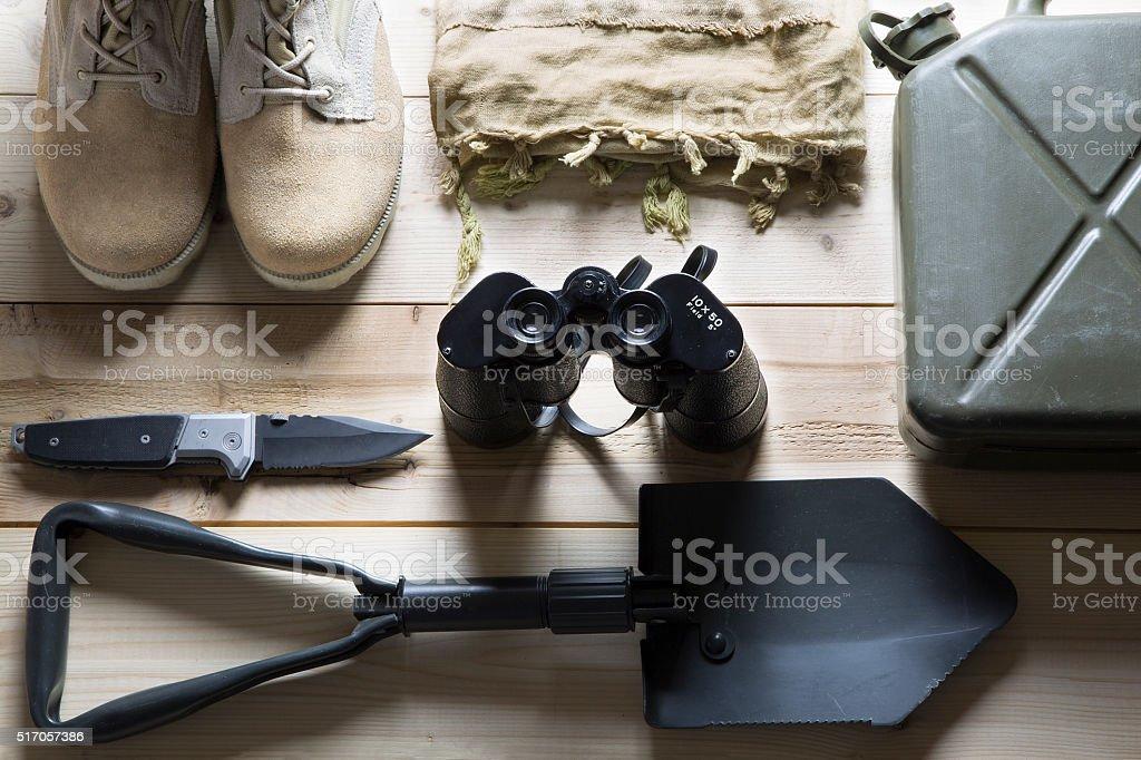 overhead of survival kit stock photo