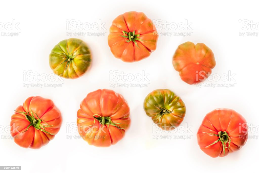 Overhead photo of Spanish Raf tomatoes on white stock photo