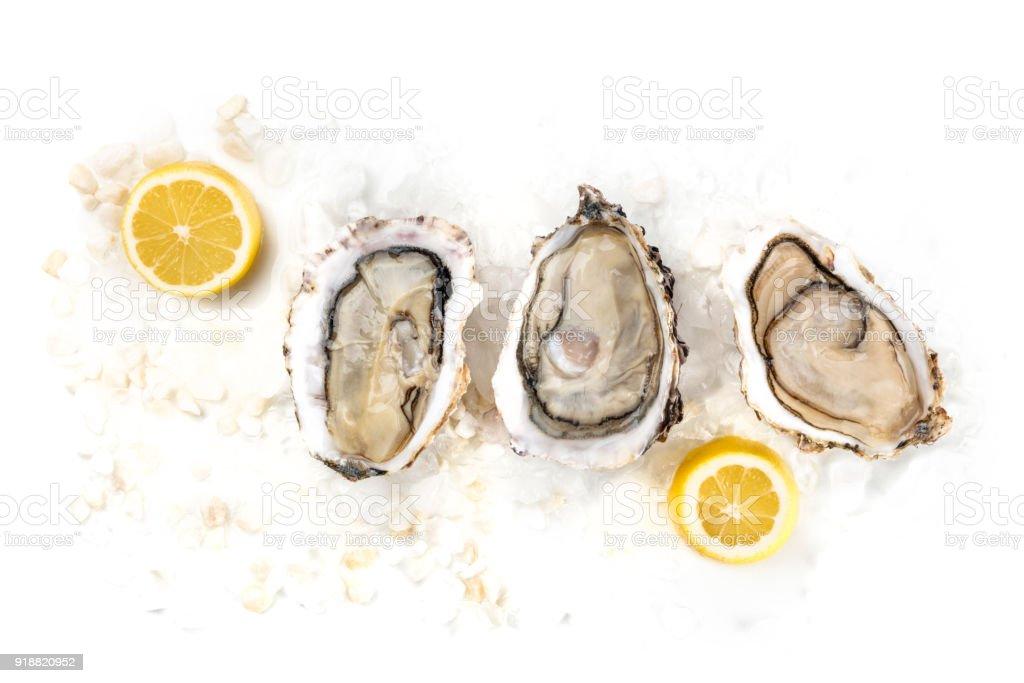 Obenliegende Foto drei Austern mit Zitronen und Textfreiraum – Foto