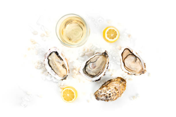 Overhead photo of three oysters with wine, lemon, and copy space An overhead photo of three freshly opened oysters on ice, with a glass of wine, lemon, and a place for text white wine stock pictures, royalty-free photos & images