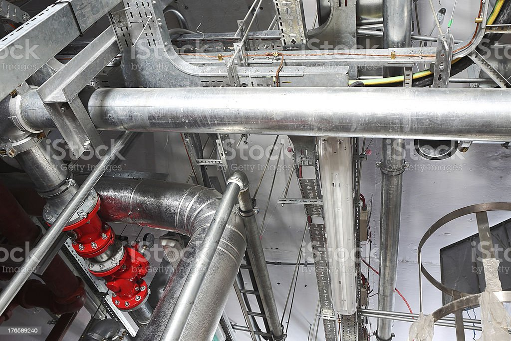 Overhead Pipes and Cable Management stock photo