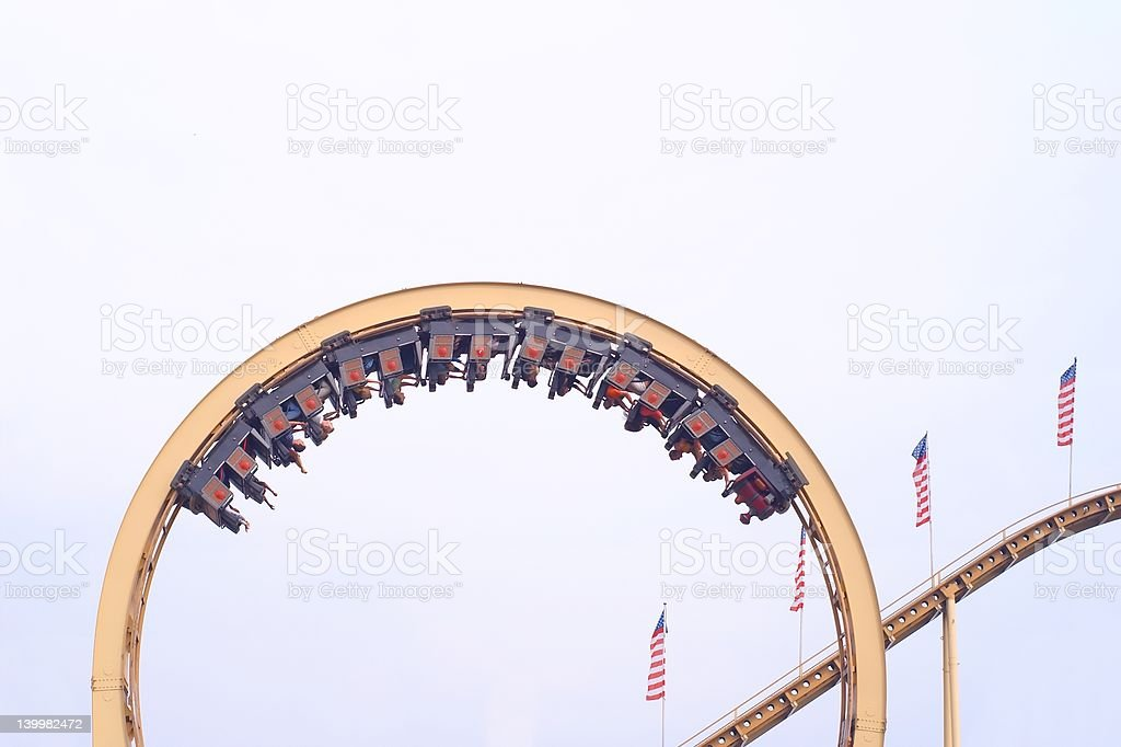 Overhead rollercoaster stock photo