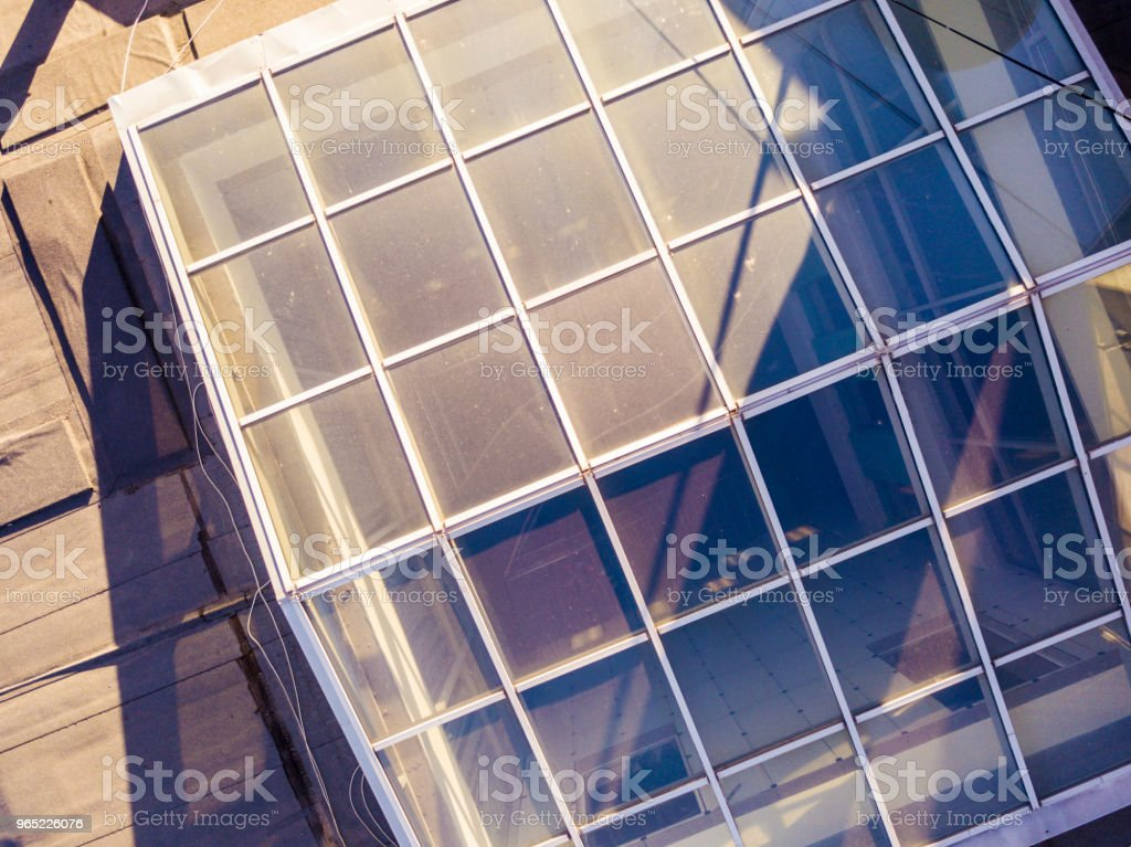 overhead roof of the urban building made of glass royalty-free stock photo