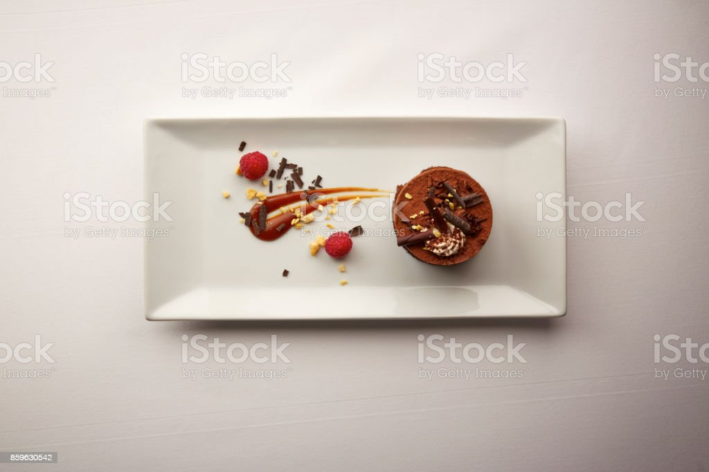Overhead shot of a gourmet chocolate dessert stock photo