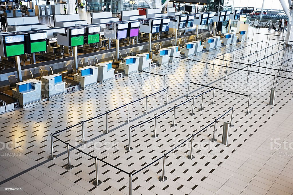 Overhead shot of an empty airport check-in royalty-free stock photo