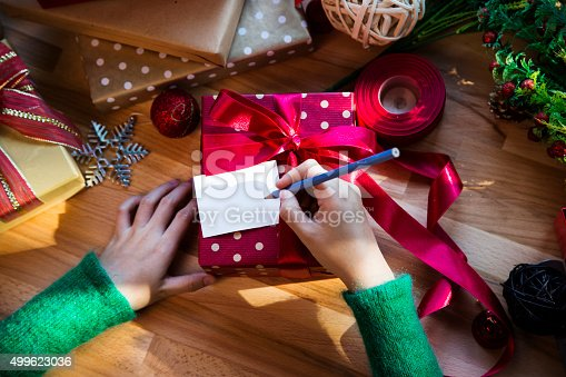 istock Overhead shot of Christmas presents and wrapping papers 499623036