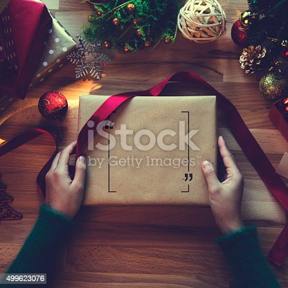 istock Overhead shot of Christmas presents and wrapping papers 499623076