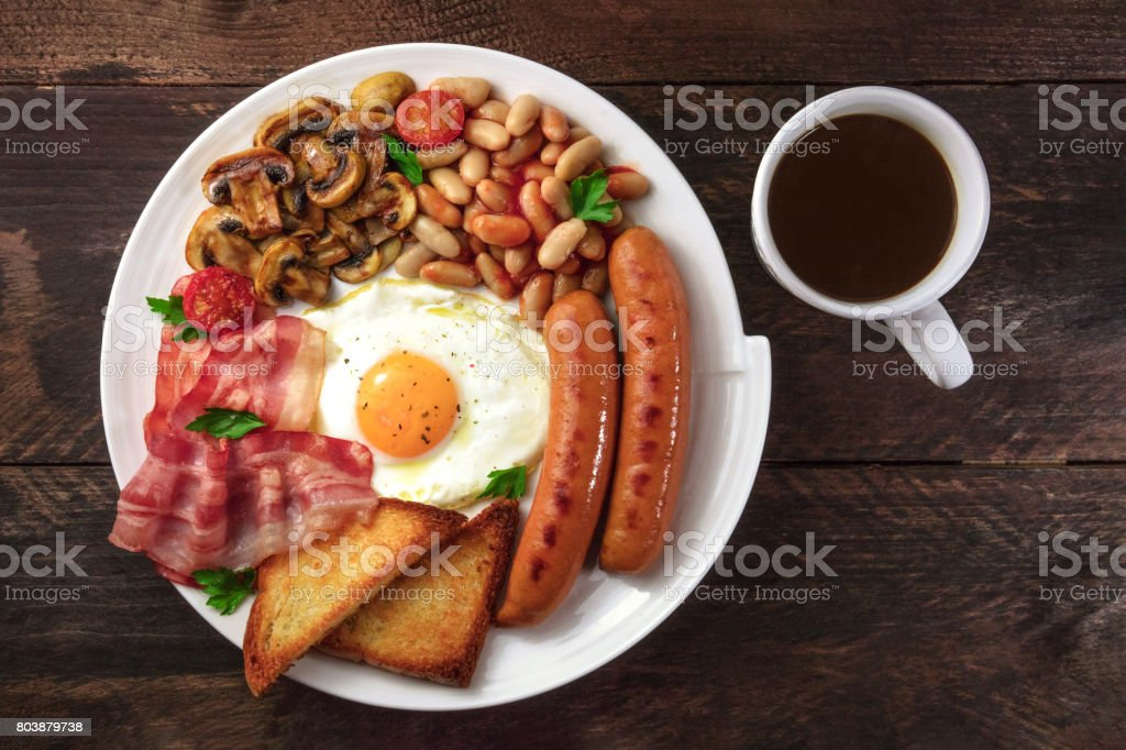 Overhead shot of English breakfast with coffee and copyspace stock photo