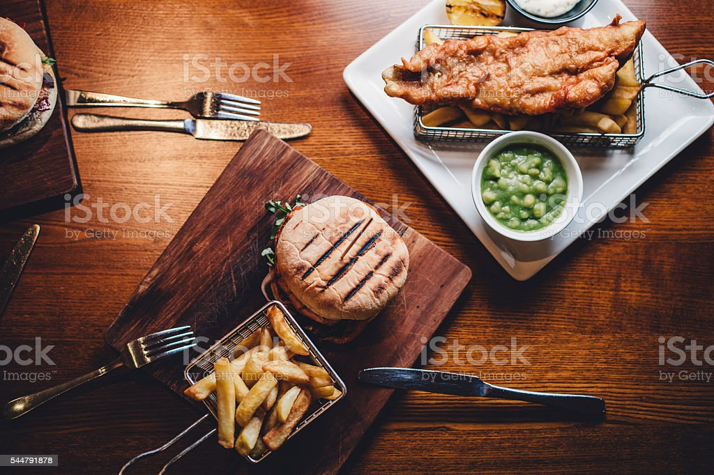 Overhead Shot of Food Dishes stock photo