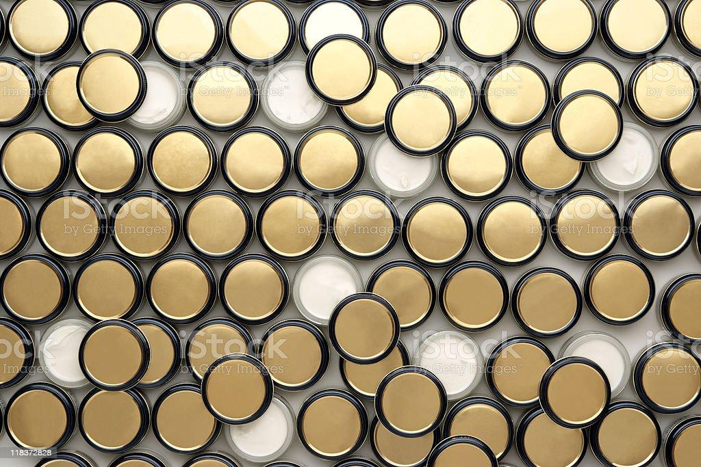 Overhead shot of many shoe polish bottle on white background stock photo