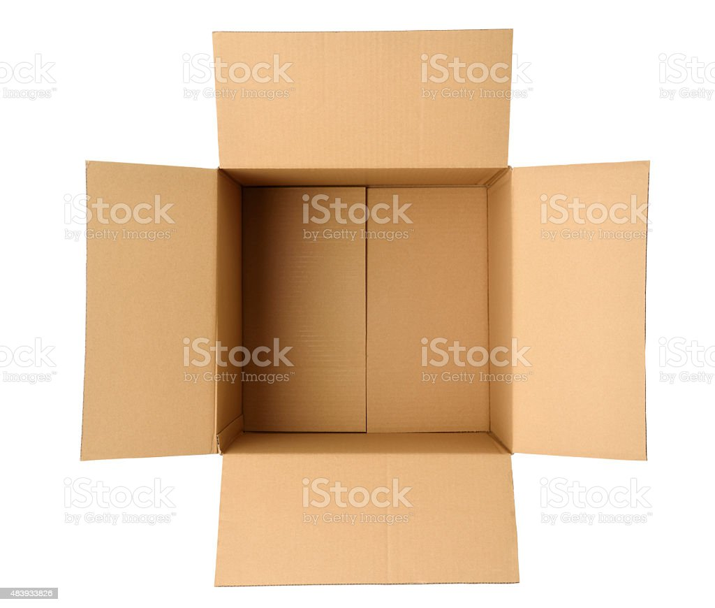 Overhead shot of opened cube cardboard box on white background stock photo