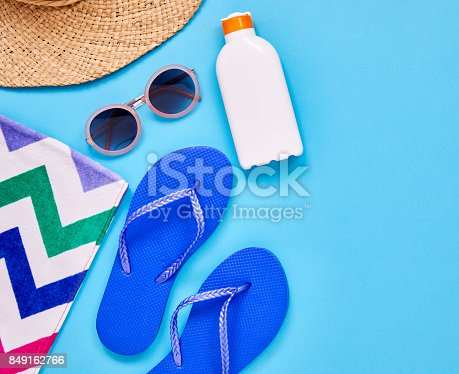 istock Overhead shot of summer vacation accessories with copy space 849162766
