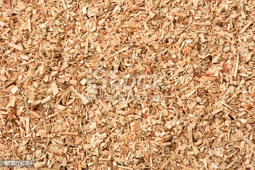 Overhead shot of wood chip texture background.