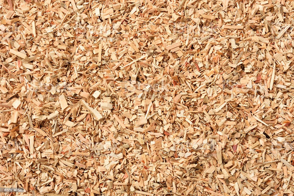 Overhead shot of wood chip texture background stock photo