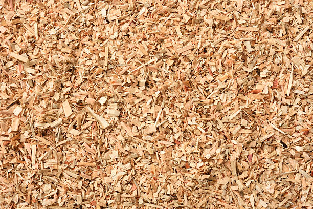 Overhead shot of wood chip texture background - foto de stock