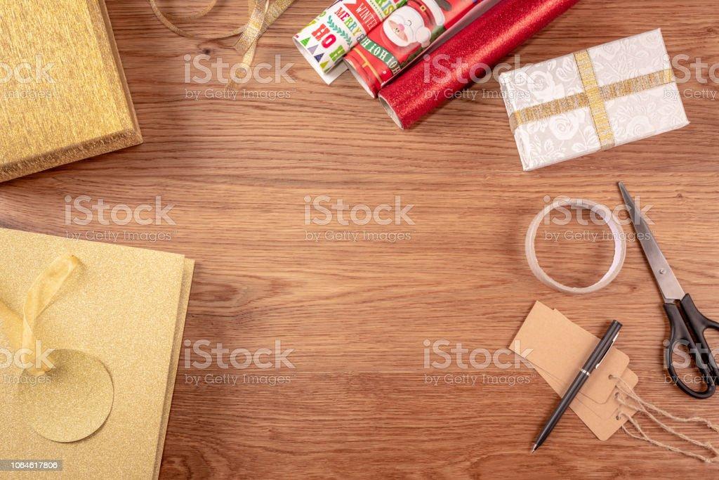 Overhead shot of wrapping Christmas presents stock photo