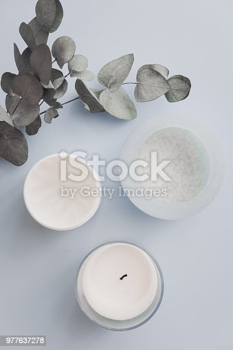 istock Overhead spa beauty products on pastel 977637278