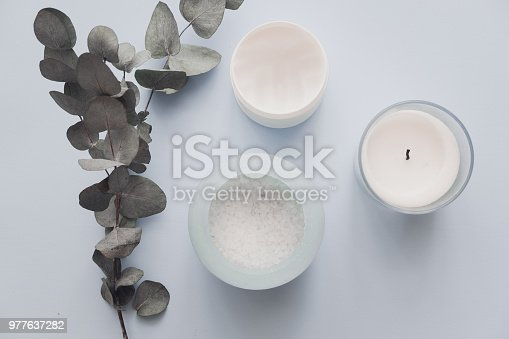 istock Overhead spa beauty products on pastel 977637282