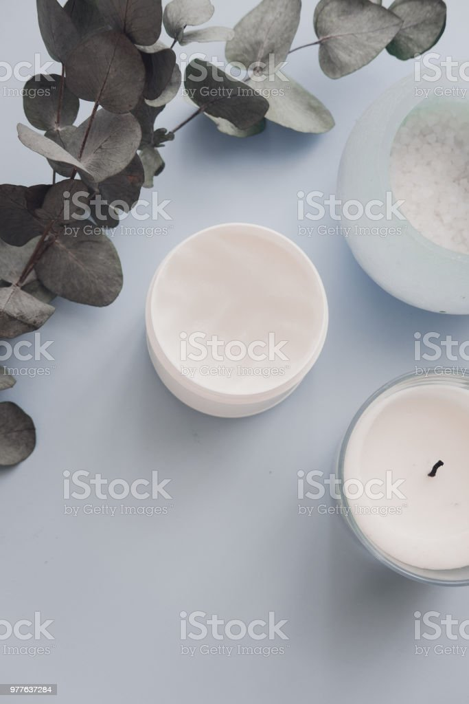 Overhead spa beauty products on pastel stock photo