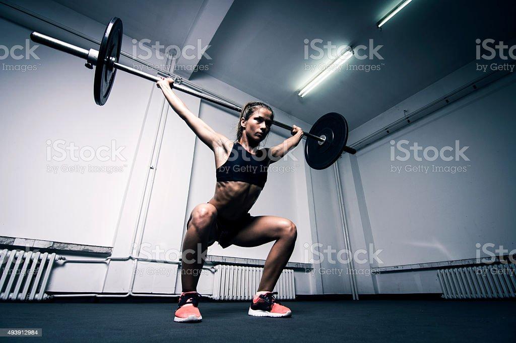 Overhead squat stock photo