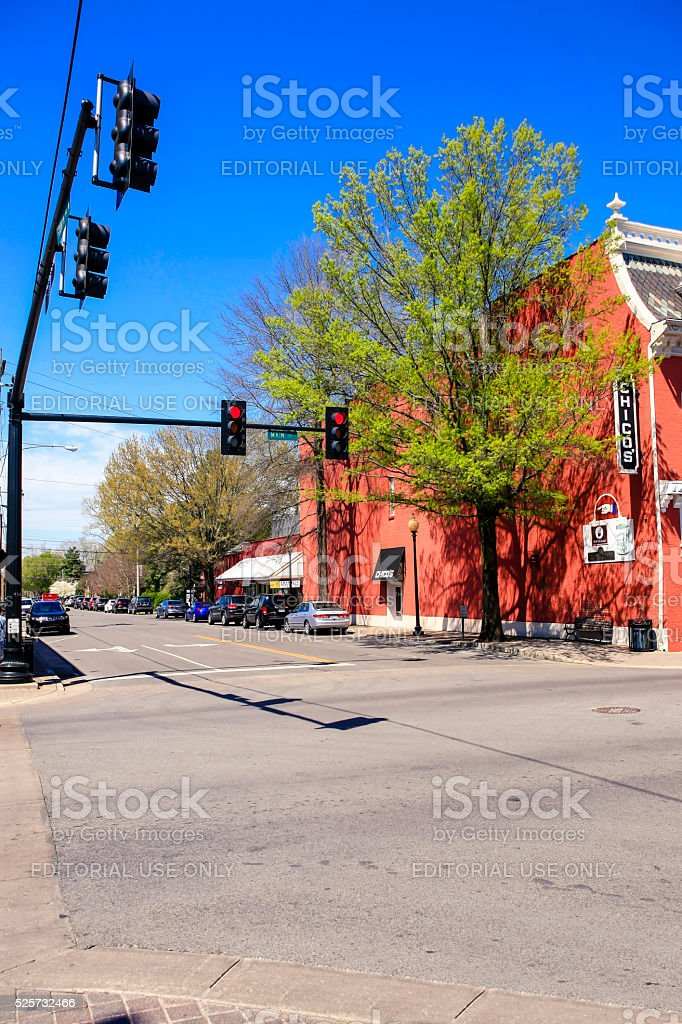 Overhead trafficlights in downtown Franklin, Tennessee. stock photo