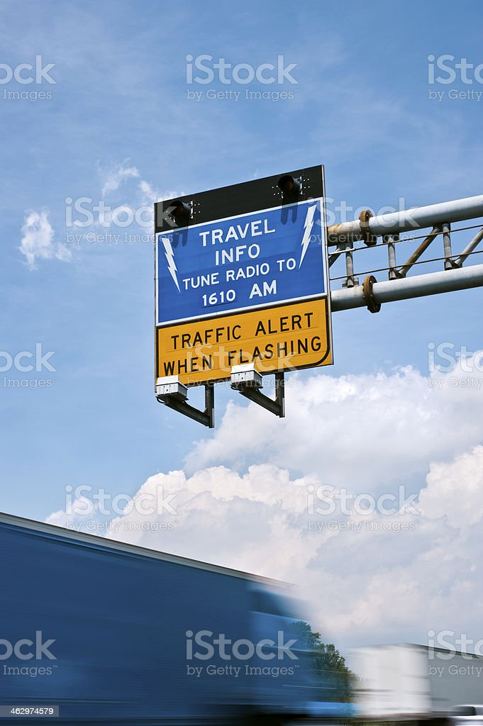 Overhead Travel Info Alert Sign stock photo