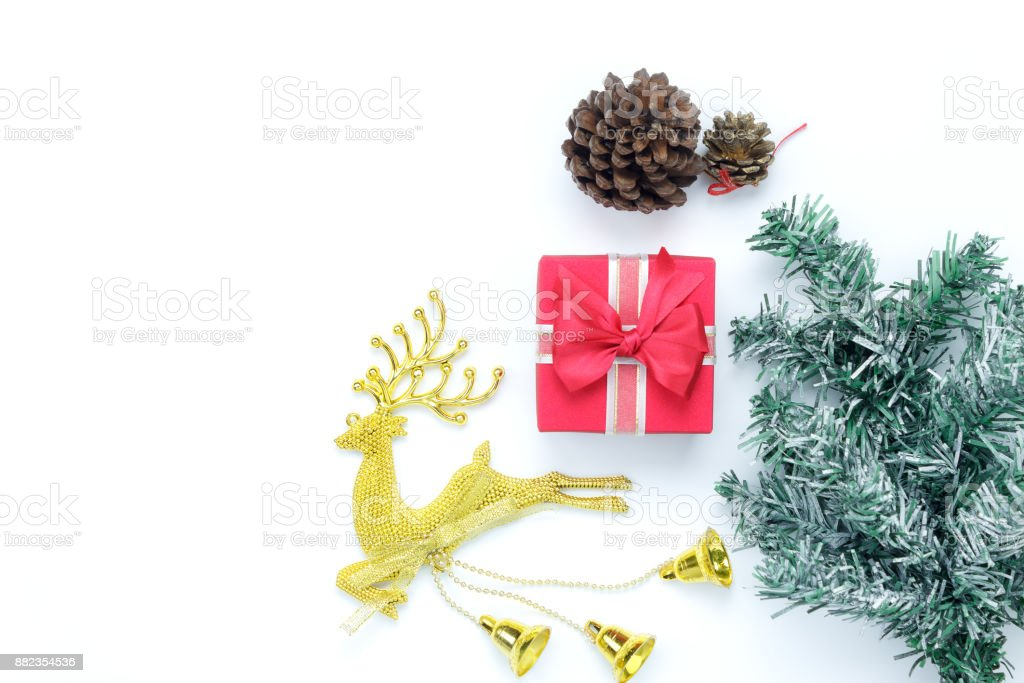 Overhead View Aerial Image Of Items Decorations Merry Christmas Happy New Year Background Concept