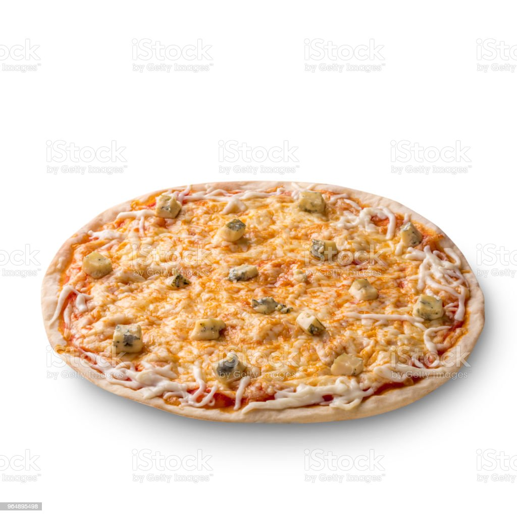 Overhead view isolated on white of a whole freshly baked delicious four cheeses Italian pizza on white background - Royalty-free Baked Stock Photo