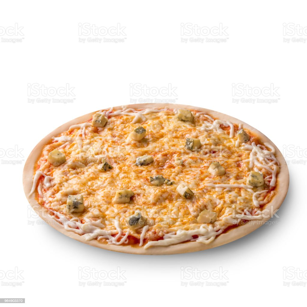 Overhead view isolated on white of a whole freshly baked delicious four cheeses Italian pizza on white background royalty-free stock photo