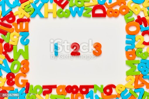 istock Overhead view of 123 amidst plastic toys on white background 852062950