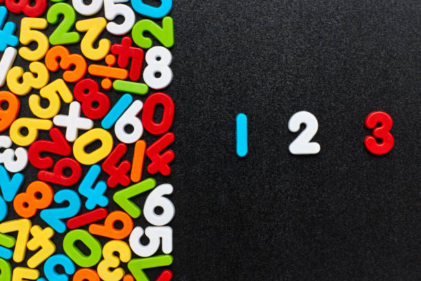 Overhead view of 123 by colorful numbers and mathematical symbols stock photo