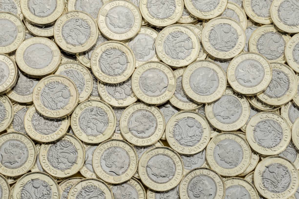 Overhead view of 2017 bimetallic British pound coins. stock photo
