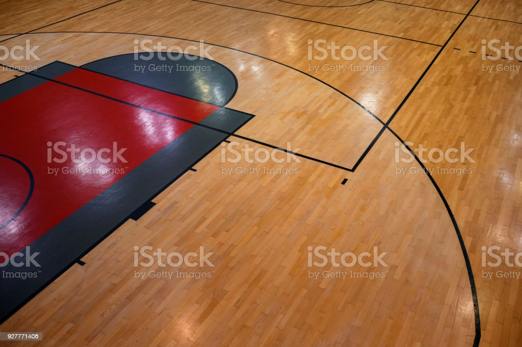 Overhead view of a basketball court  above stock photo