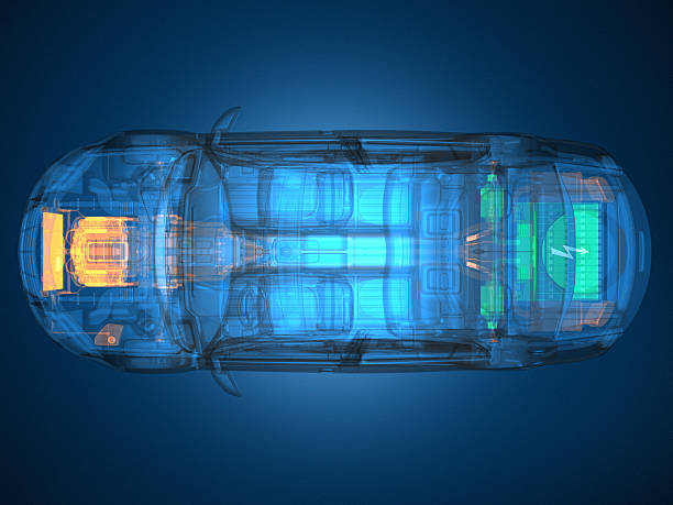 Overhead view of a blue transparent vehicle stock photo