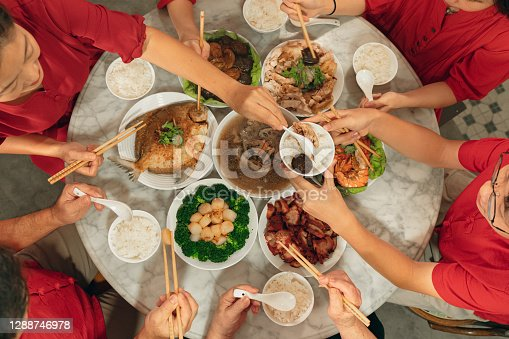 Overhead view of a Chinese New Year reunion dinner activity