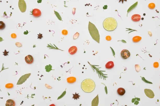 Overhead View Of A Colourful Spices for and Herbs for Cooking stock photo